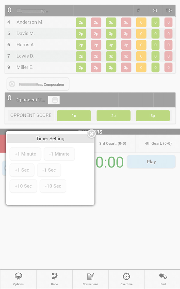 Basketball statistics application for tournament
